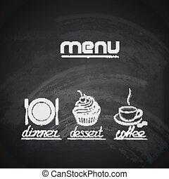 vendimia, pizarra, menú, diseño, con, placa, tenedor, cuchillo, cupcake, y, taza para café