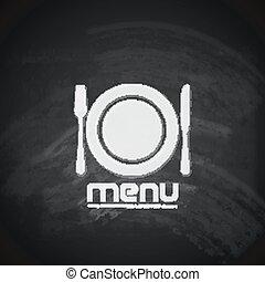 vendimia, pizarra, menú, diseño, con, placa, tenedor, y, cuchillo