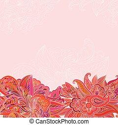 vendimia, plano de fondo, con, floral, vendimia, patrón