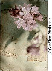 vendimia, plano de fondo, con, flores del resorte