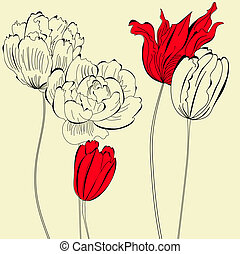 vendimia, plano de fondo, con, flores