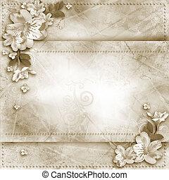 vendimia, plano de fondo, con, marco, y, flores, para, felicitaciones, y, invitaciones