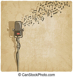 vendimia, plano de fondo, con, micrófono