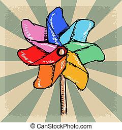 vendimia, plano de fondo, con, molino de viento, colores