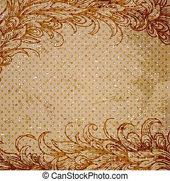 vendimia, plano de fondo, con, patrón floral