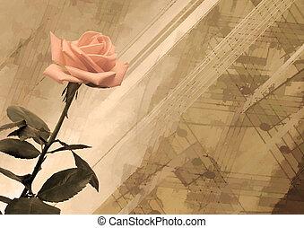 vendimia, plano de fondo, rosa