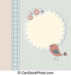 vendimia, plantilla, con, pájaro, y, flores