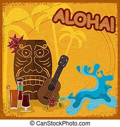 vendimia, postal, con, feature, hawaiano, máscaras, guitarras, y, cocktails., eps10