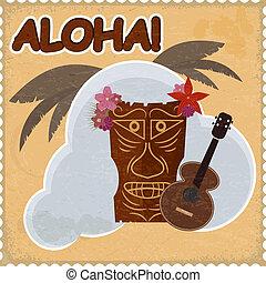 vendimia, postal, con, hawaiano, elements., eps10