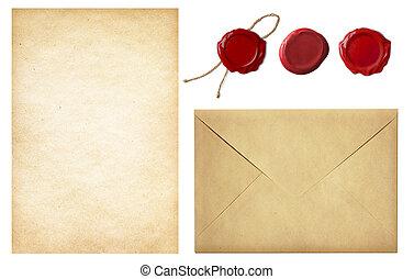 vendimia, postal, set:, viejo, envíe, blanco, carta, papel, y, rojo, sello de lacrar, sellos, aislado, blanco