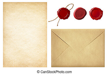 vendimia, postal, set:, viejo, envíe, blanco, carta, papel,...