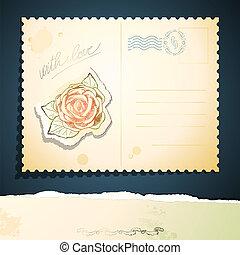 vendimia, postal, vector