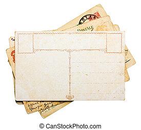 vendimia, postales, pila, aislado, blanco