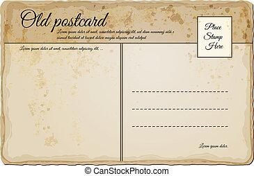 vendimia, poste, viejo, tarjeta