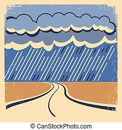 vendimia, poster., lluvia