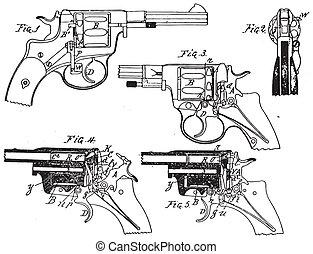 vendimia, potro, revólver, dibujo