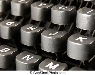 vendimia, primer plano, keybord, máquina de escribir
