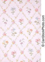 vendimia, provance, papel pintado, con, floral, pattern.