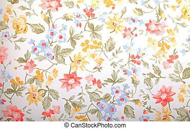 vendimia, provance, papel pintado, con, patrón floral