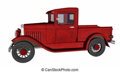 vendimia, recolección, camión viejo, rojo