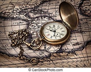 vendimia, reloj, en, mapa antiguo