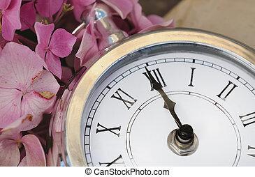 vendimia, reloj, medianoche