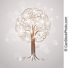 vendimia, resumen, árbol, dibujo