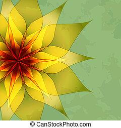 vendimia, resumen, flor, fondo verde