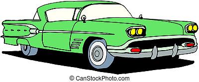 vendimia, retro, automóvil