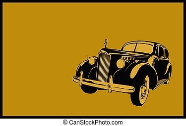 vendimia, retro, clásico, imagen, estilizado, 40-50s., coche, coche.