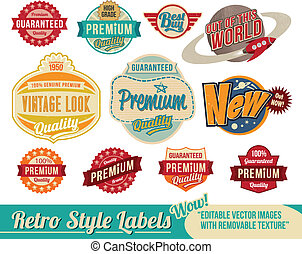 vendimia, retro, etiquetas, y, etiquetas