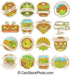vendimia, retro, granja, etiquetas