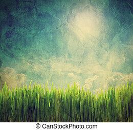 vendimia, retro, imagen, de, naturaleza, paisaje., grunge,...