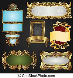 vendimia, retro, oro, marcos, y, etiquetas