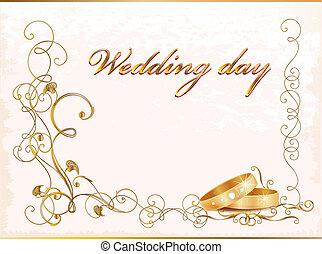 vendimia, rings., tarjeta, boda