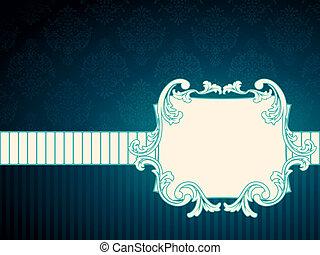 vendimia, rococó, rectangular, etiqueta