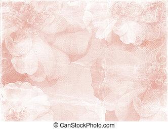 vendimia, romántico, papel, plano de fondo, con, rosas