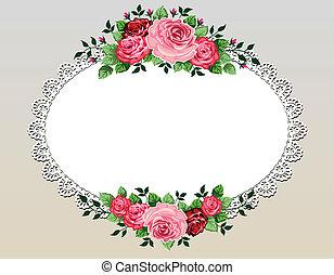 vendimia, rosas, ramo, marco