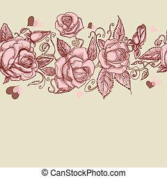 vendimia, rosas, seamless, patrón