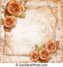 vendimia, saludo, rosas, plano de fondo, invitación, o,...