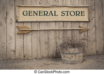 vendimia, señal, tienda