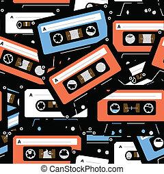 vendimia, seamless, cassettes., música, plano de fondo, análogo, recordable