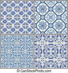 vendimia, -, seamless, colección, victoriano, vector, plano de fondo, azulejo
