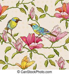vendimia, seamless, plano de fondo, -, flores, y, aves, -, para, diseño, y, álbum de recortes, en, vector