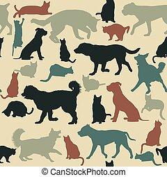 vendimia, seamless, siluetas, gatos, plano de fondo, perros
