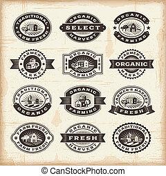 vendimia, sellos, agricultura, orgánico, conjunto