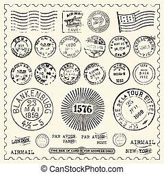 vendimia, sellos, conjunto