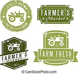 vendimia, sellos, fresco, mercado, granjeros