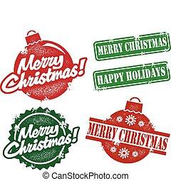 vendimia, sellos, navidad, alegre