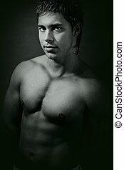 vendimia, sexy, hombre, muscular, retrato
